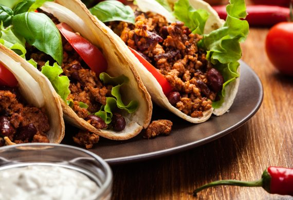 pork and bean tacos